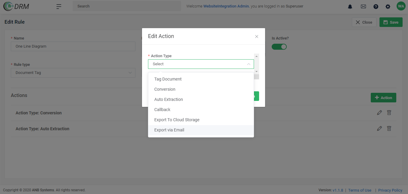 Document Rules & Actions Setup