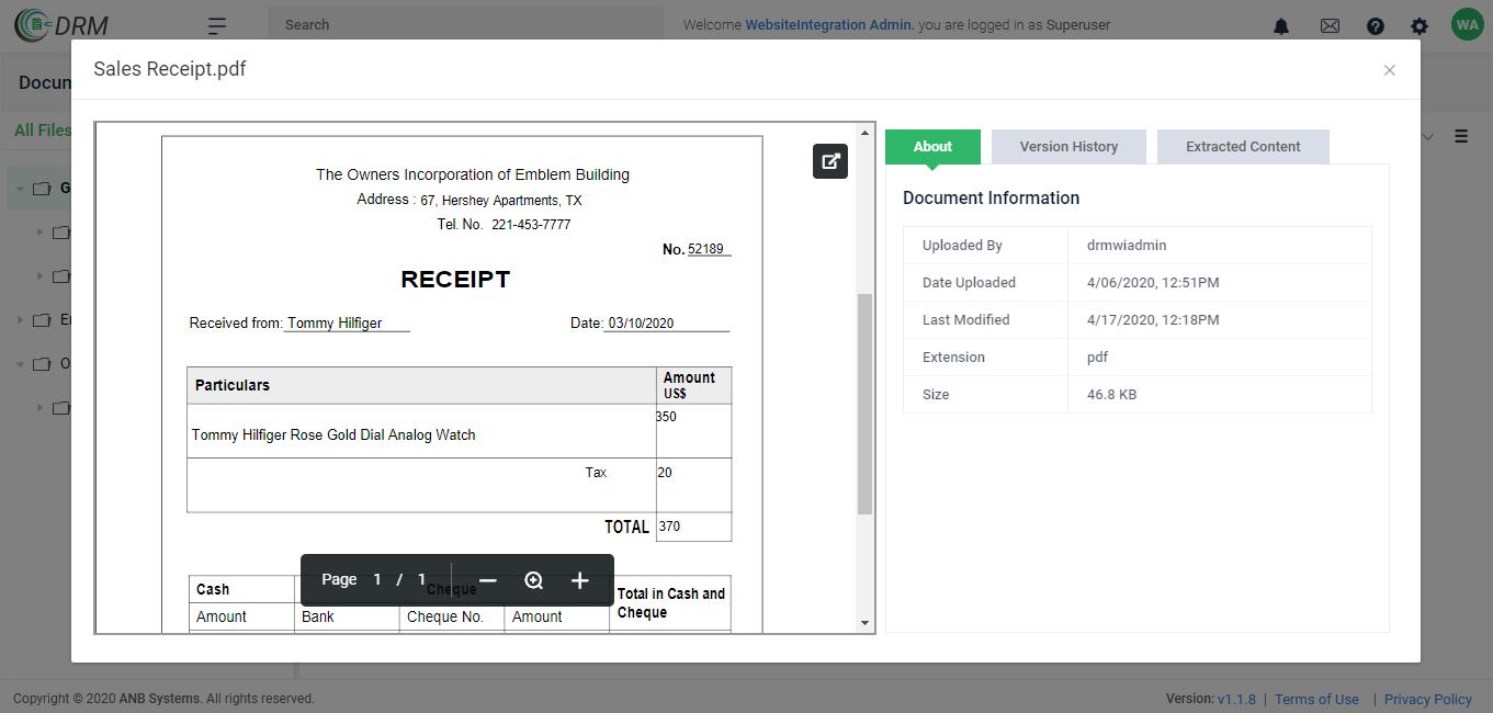 Sales Receipt Document Previewer