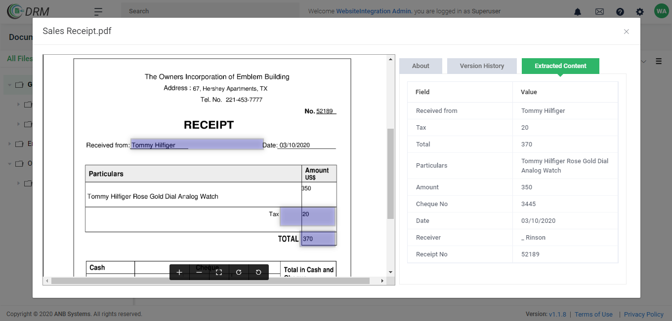 Data Extraction from Sales Reciept